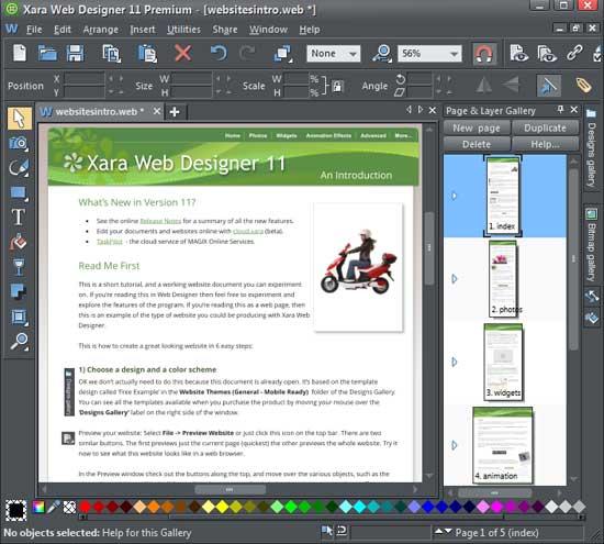 The Xara Web Designer 11 Premium interface