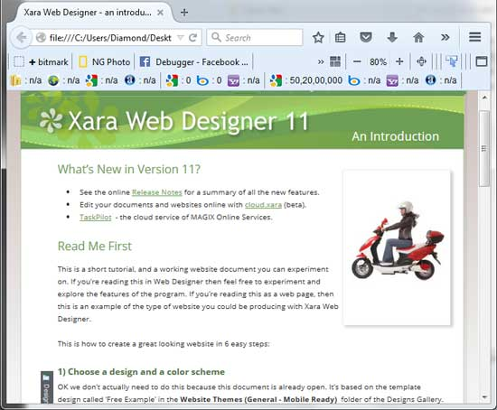 Exported web page